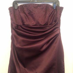 Plum, floor length, Bari Jay evening gown